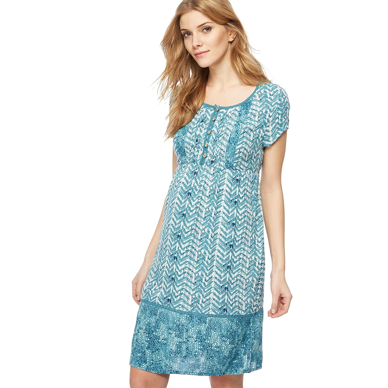 Debenhams Mantaray Womens Light Turquoise Chevron Print Knee Length ...