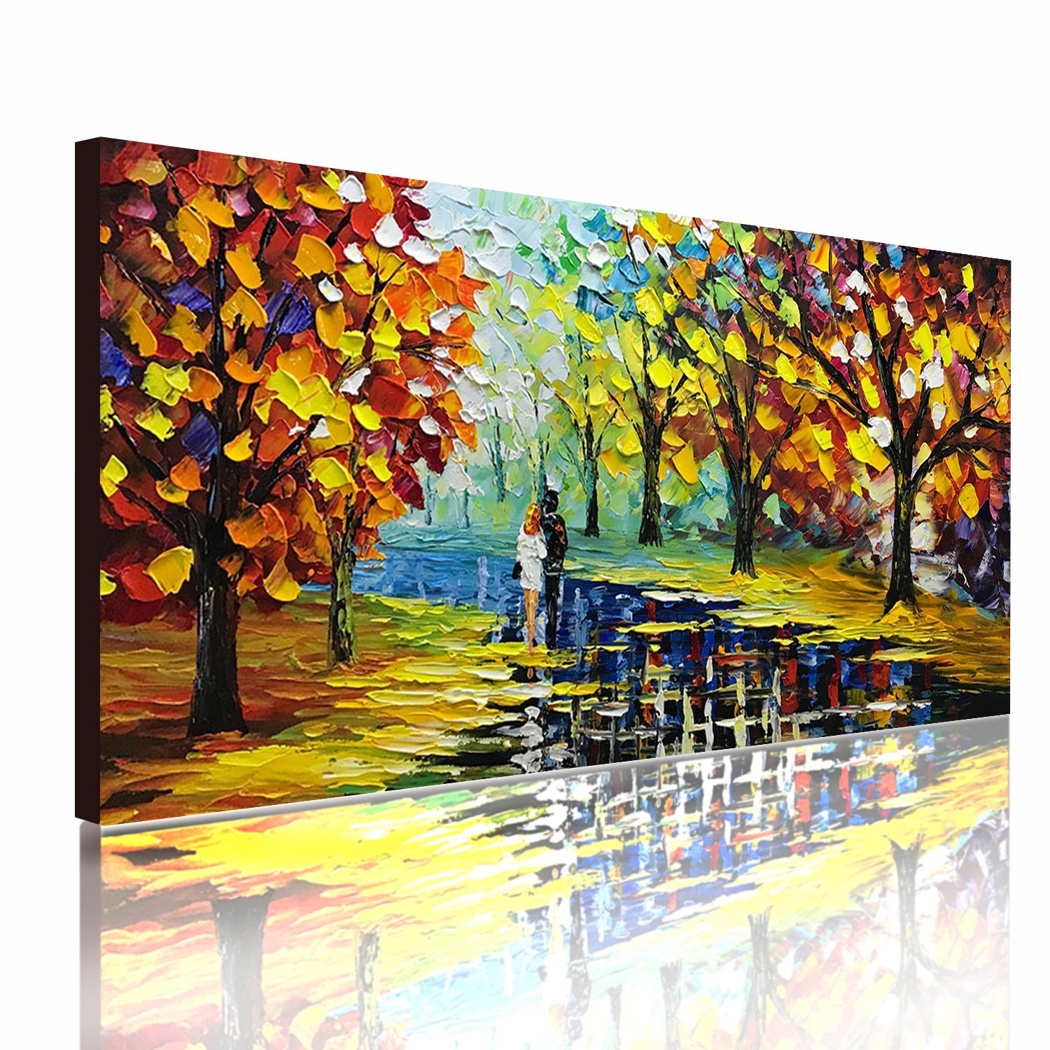 Fasdi-ART Paintings, 24x48 Inch Paintings, Love in the Forest Oil Hand Painting Painting 3D Hand-Painted On Canvas Abstract Artwork Art Wood Inside Framed Hanging Wall Decoration Abstract Painting by Fasdi-ART (Image #2)