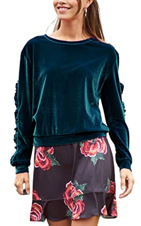 bea335916046 ECOWISH Damen Samt Top Rundhals Langarm Winter Mode Sweatshirt Pullover  Bluse Oberteil Blau XL