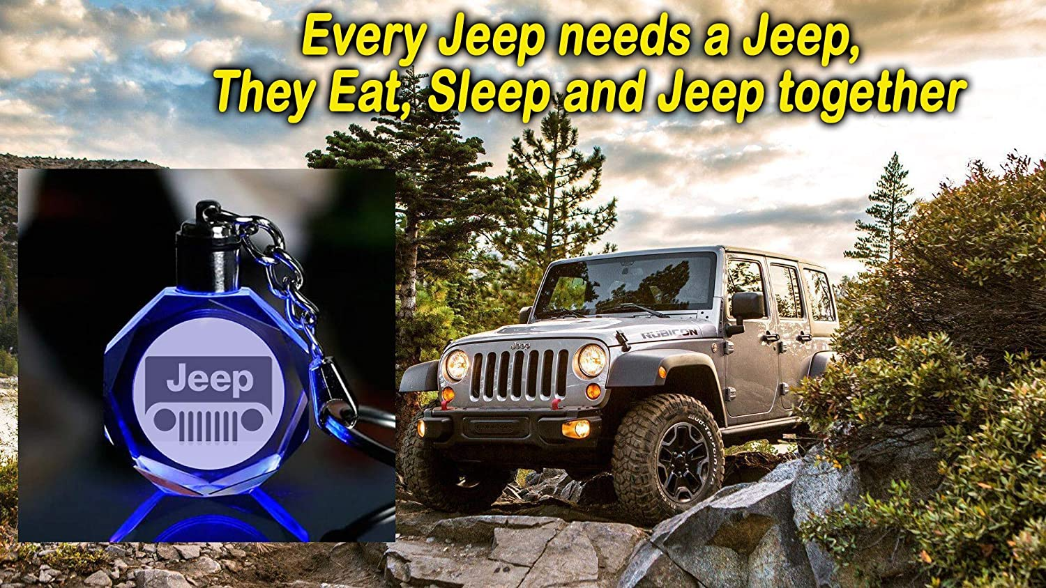 (Jeep) Grill Keychain with Logo on 3D Crystal and LED Light - FOB Key Ring Holder Chain Valet - for Men and Women as Automotive Gift and Accessories - ...