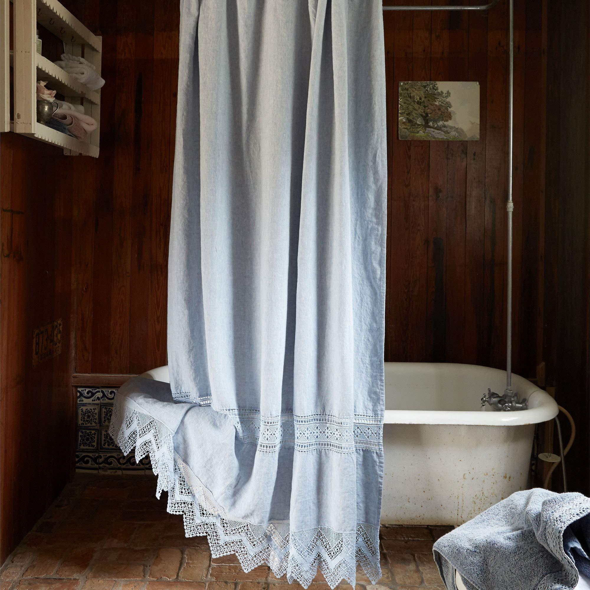 Rachel Ashwell Cluny Lace Shower Curtain 74'' W x 72'' L Indigo