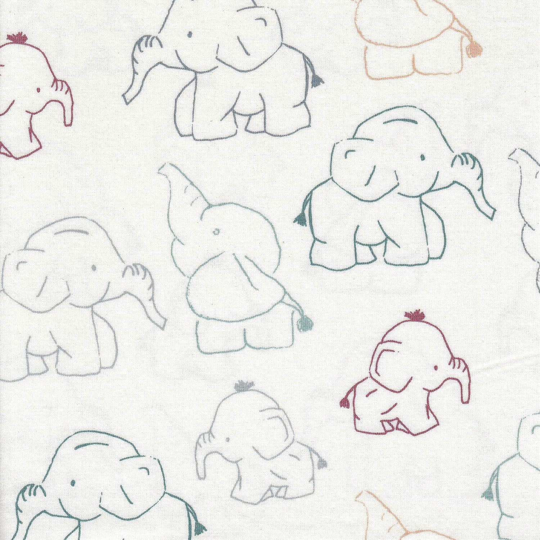 weiß,150cm Kinderstoff Baumwoll-Jersey Elefanten