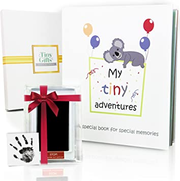 First 5 Years Chevron Baby Memory Book With Included Clean Touch Baby Safe Ink