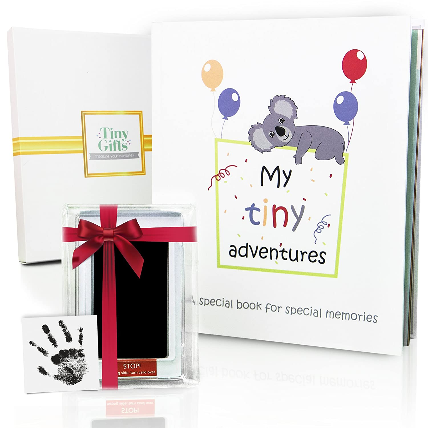 First 5 Years Baby Memory Book Clean-Touch Ink Pad Gift Box. Record Your Girl or Boy Photos Milestones. Keepsake Journal Scrapbook Photo Album. Modern Baby Shower Gift for Expecting Parents
