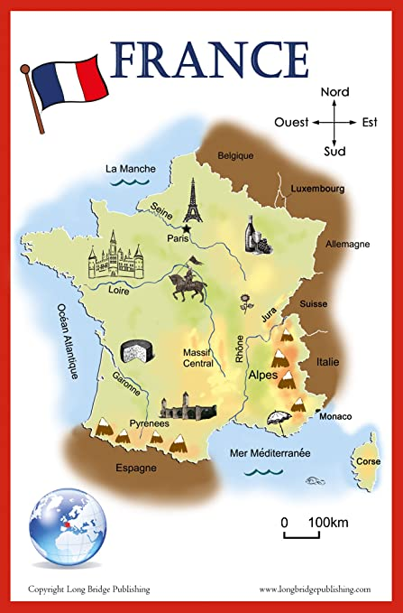 Mountains Of France Map.French Language School Poster Simplified Map Of France By Long