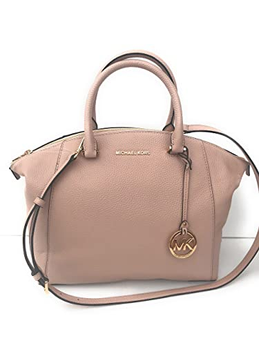 0bda9580a8649 Amazon.com  MICHAEL Michael Kors Riley Large Pebble Leather Satchel Bag -  Ballet   Gold  Shoes
