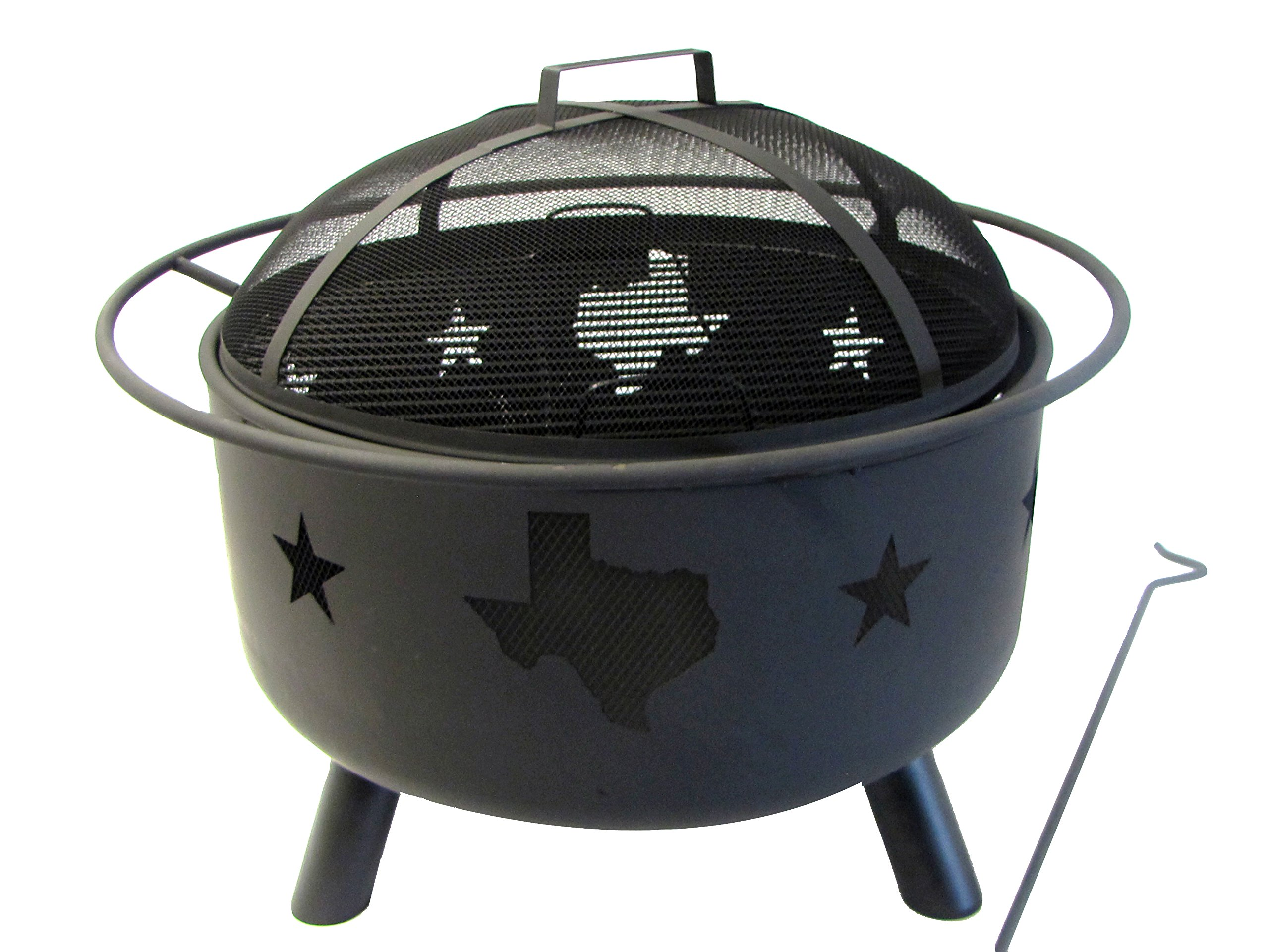 Leigh Country TX 93538 Texas Map Fire Pit - Texas and star design cutouts Sturdy Steel construction with Black finish Safety ring for easy transport - patio, outdoor-decor, fire-pits-outdoor-fireplaces - 81aCtPeCfIL -