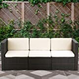 Outdoor Patio Furniture Sets 3 Piece Wicker Sectional Sofa Rattan Chair Outdoor Conversation Sets Garden Sofa or Lawn Balcony Poolside or Backyard