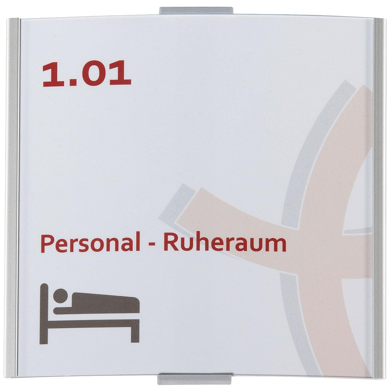 con placa para puerta entspiegelter protectora 148/x 155/mm | Oficina Cartel aluminio plata Placa para puerta Frankfurt 148
