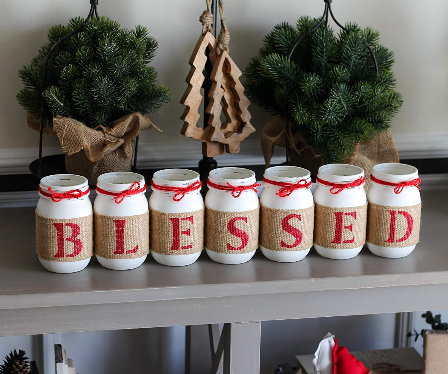 Christmas Table Centerpiece Blessed Double Sided Rustic Red White Home Decor Mason Jars Set