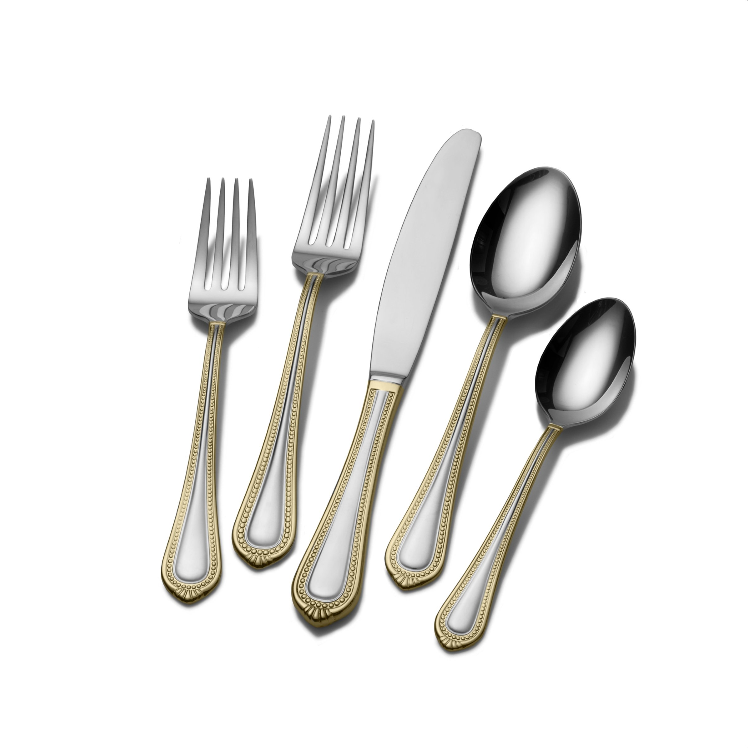 Mikasa Regent Bead Gold 65-Piece Stainless Steel Flatware Set, Service for 12 by Mikasa