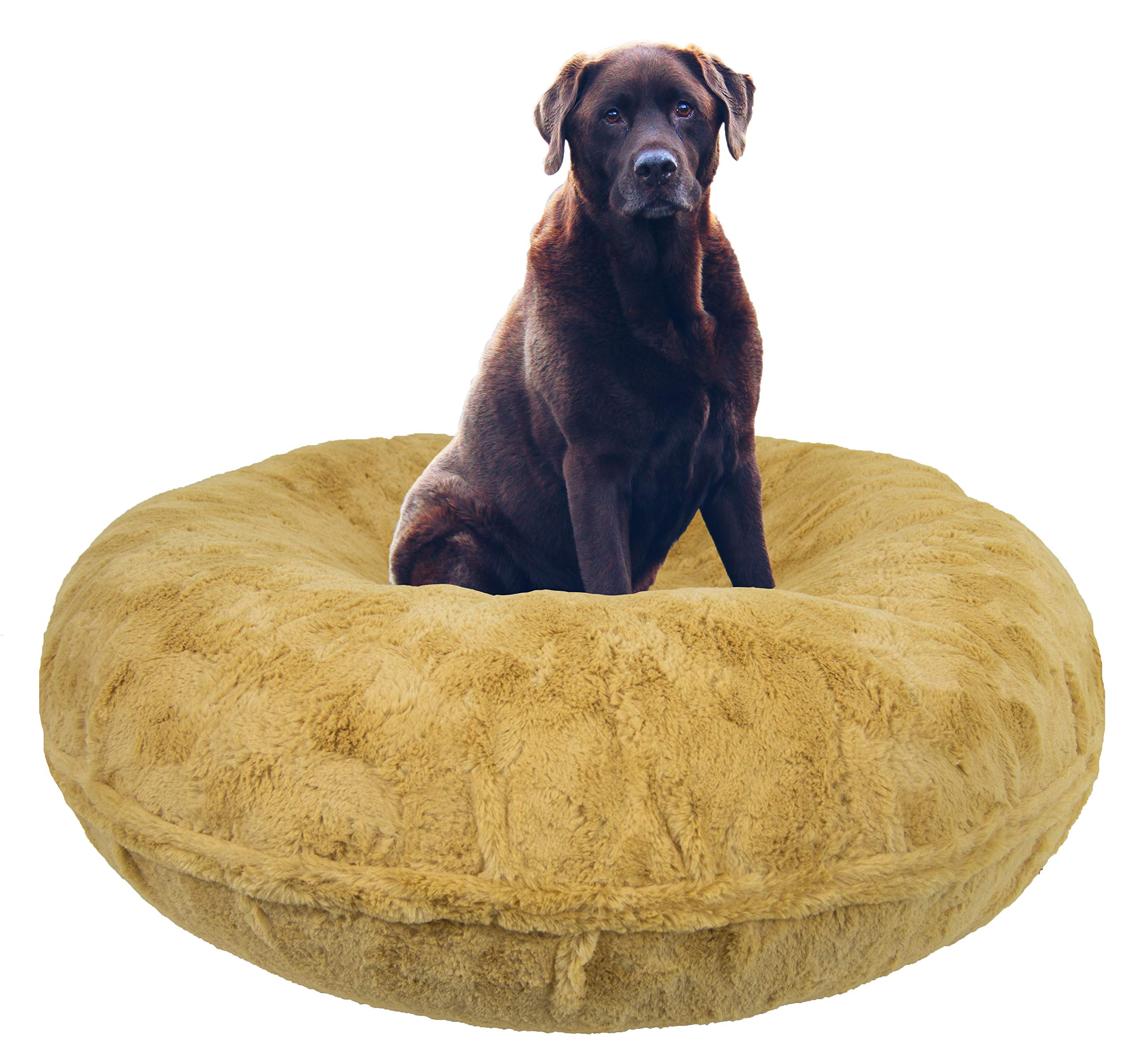 BESSIE AND BARNIE Signature Honeymoon Luxury Shag Extra Plush Faux Fur Bagel Pet/Dog Bed (Multiple Sizes) by BESSIE AND BARNIE