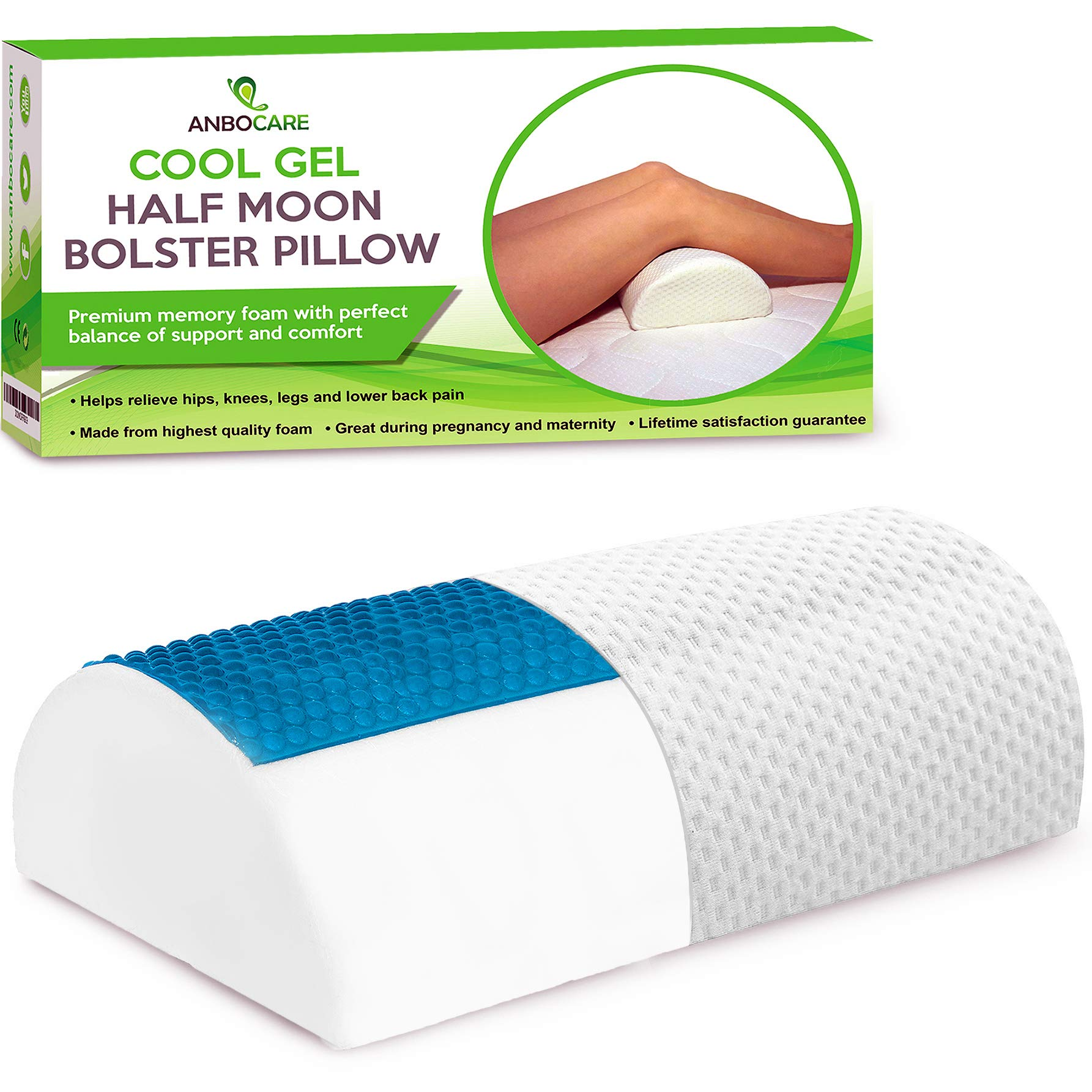 Half Moon Bolster Pillow - Memory Foam Bed Wedge Provide Ultimate Knee & Leg Support for Side Sleepers - Semi Roll Relief Neck, Hip, Lumbar and Back Pain - Rest Cooling Gel Half-Cylinder for Sleeping by AnboCare