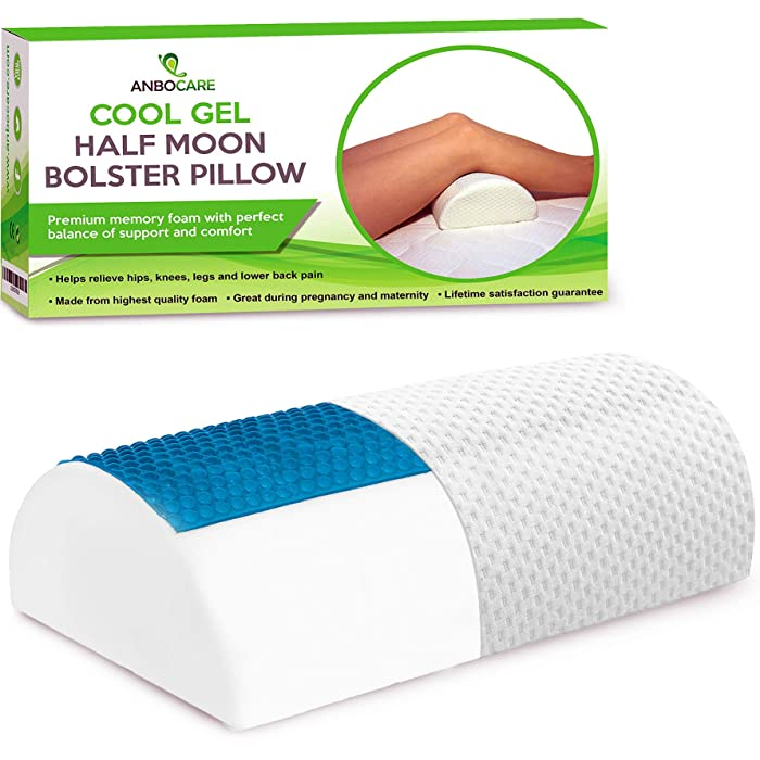 Half Moon Bolster Pillow - Memory Foam Knee Wedge Provide Ultimate Leg Support for Side Sleepers - Semi Roll Cushion Relief Neck, Hip, Lumbar & Back Pain - Rest Cooling Gel Half Cylinder for Sleeping