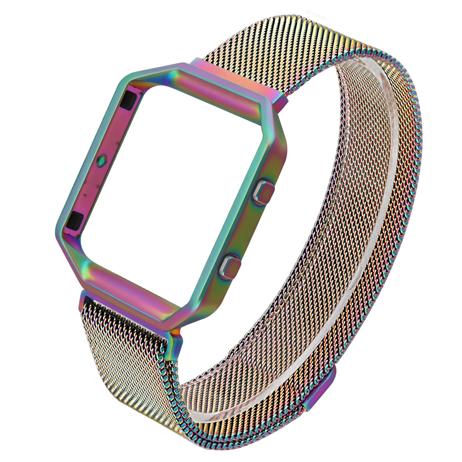 ESeekGo For Fitbit Blaze Band with Metal Frame, Milanese Loop Bands Replacement Stainless Steel Bracelet Strap for Fitbit Blaze Large (No Tracker, Colorful)
