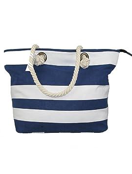 7ffdb63da8 Extra Large Beach Bag - Navy Blue - Big striped tote canvas fabric ...