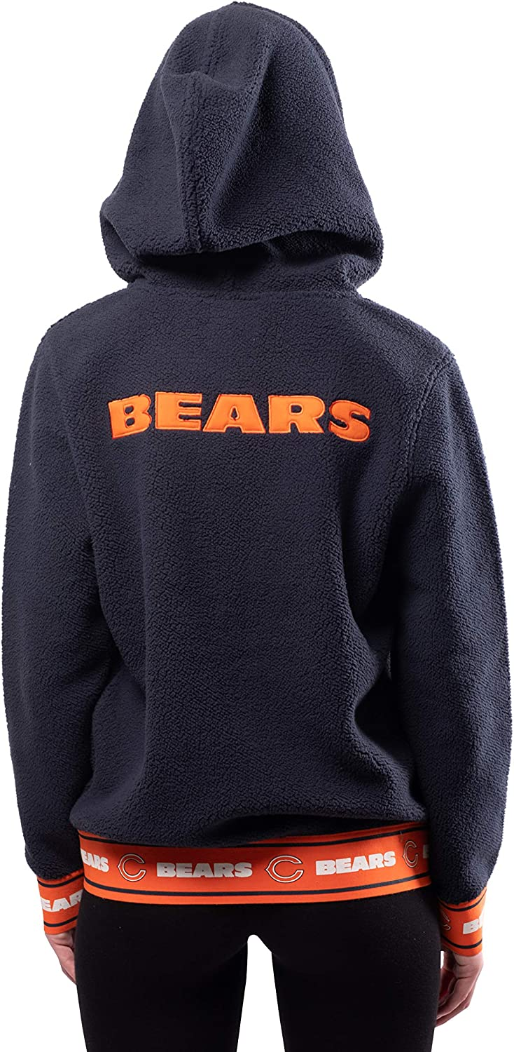 Ultra Game NFL Womens Full Zip Sherpa Jersey Hoodie with Team Logo