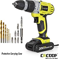 CACOOP CCD20001LBB 18V Lithium-Ion Cordless Drill/Driver Set, With 1 20V 1.5Ah Battery pack, 1 Rapid charger, 6 HSS wood drill bits, 6 Screwdriver bits, 1 Magnetic bit holder and 1 Belt hook