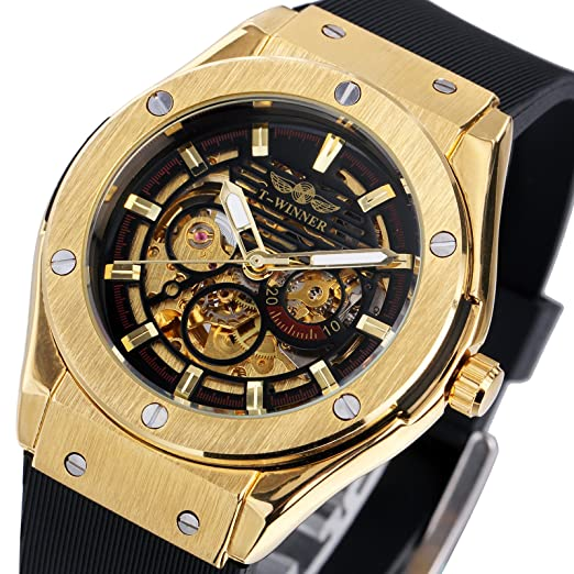 Winner lujo hombres del deporte Relojes de pulsera mecánico esqueleto correa de silicona 2017 Hombres Moda relojes de pulsera + caja: Amazon.es: Relojes