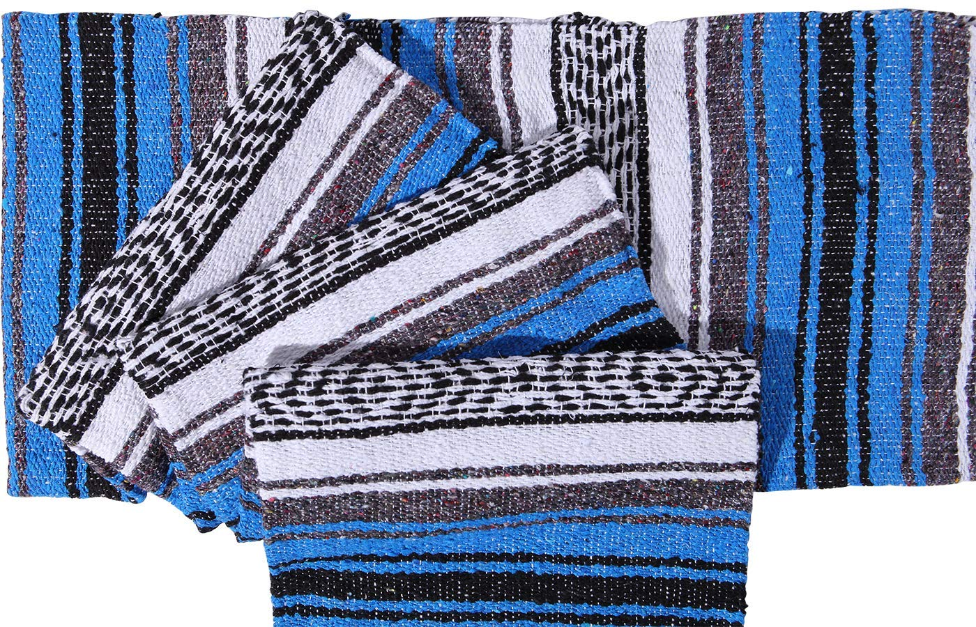 El Paso Designs Genuine Mexican Falsa Blanket - Yoga Studio Blanket, Colorful, Soft Woven Serape Imported from Mexico (Blue) by El Paso Designs (Image #4)