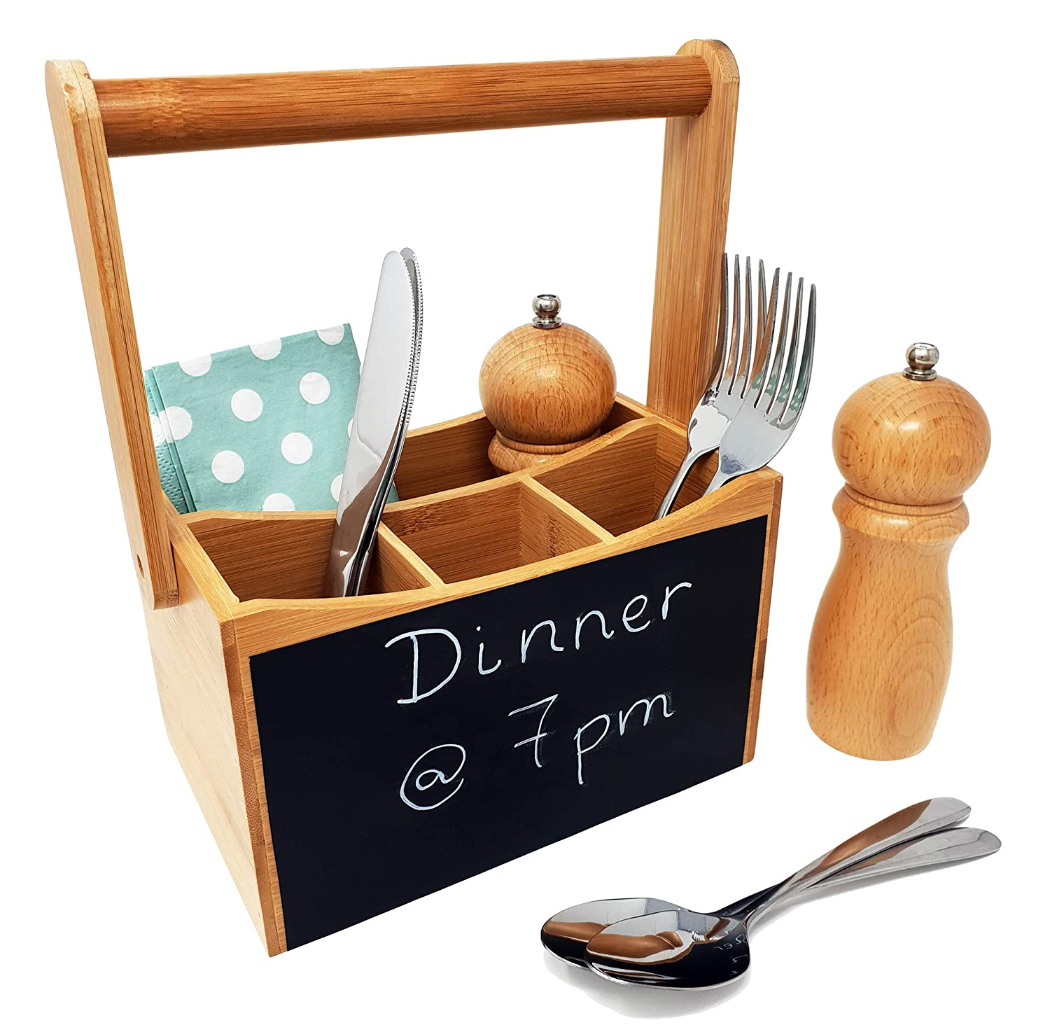 Carry Handle with Chalk Board Perfect for Home//Restaurant//BBQ 4 Compartments for Cutlery /& Condiments Organiser CherryTreeHouse Cutlery Caddy//Utensil Holder Ideal Gift//Present
