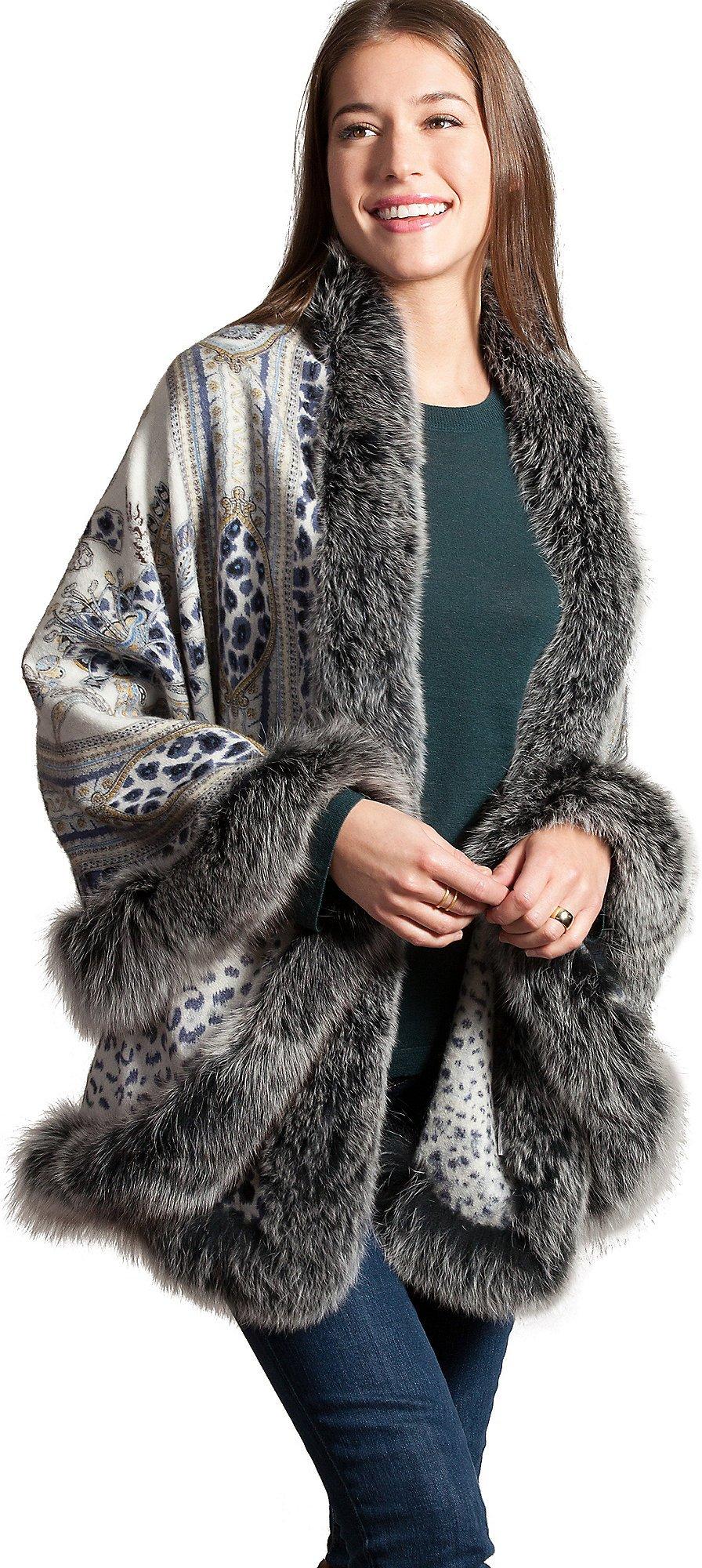 Amy Cashmere-Blend Shawl with Blue Fox Fur Trim by Overland Sheepskin Co