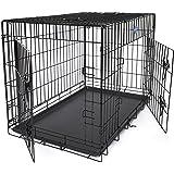 Songmics L - XXL Hundekäfig faltbar Käfig mit 2 Türen 1 x herausnehmbare Kunststoffwanne