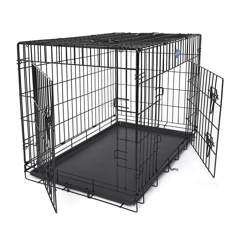 Songmics Jaula metálica para perro gato conejo Plegable Transportable x x cm