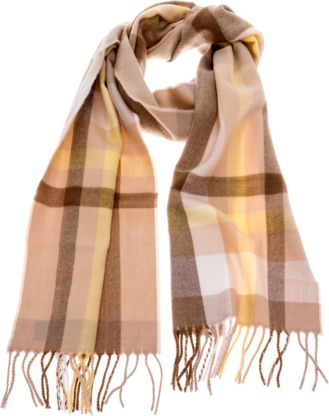 SilverHooks Soft & Warm Plaid Cashmere Scarf w/Gift Box (Cream, Yellow & Brown)