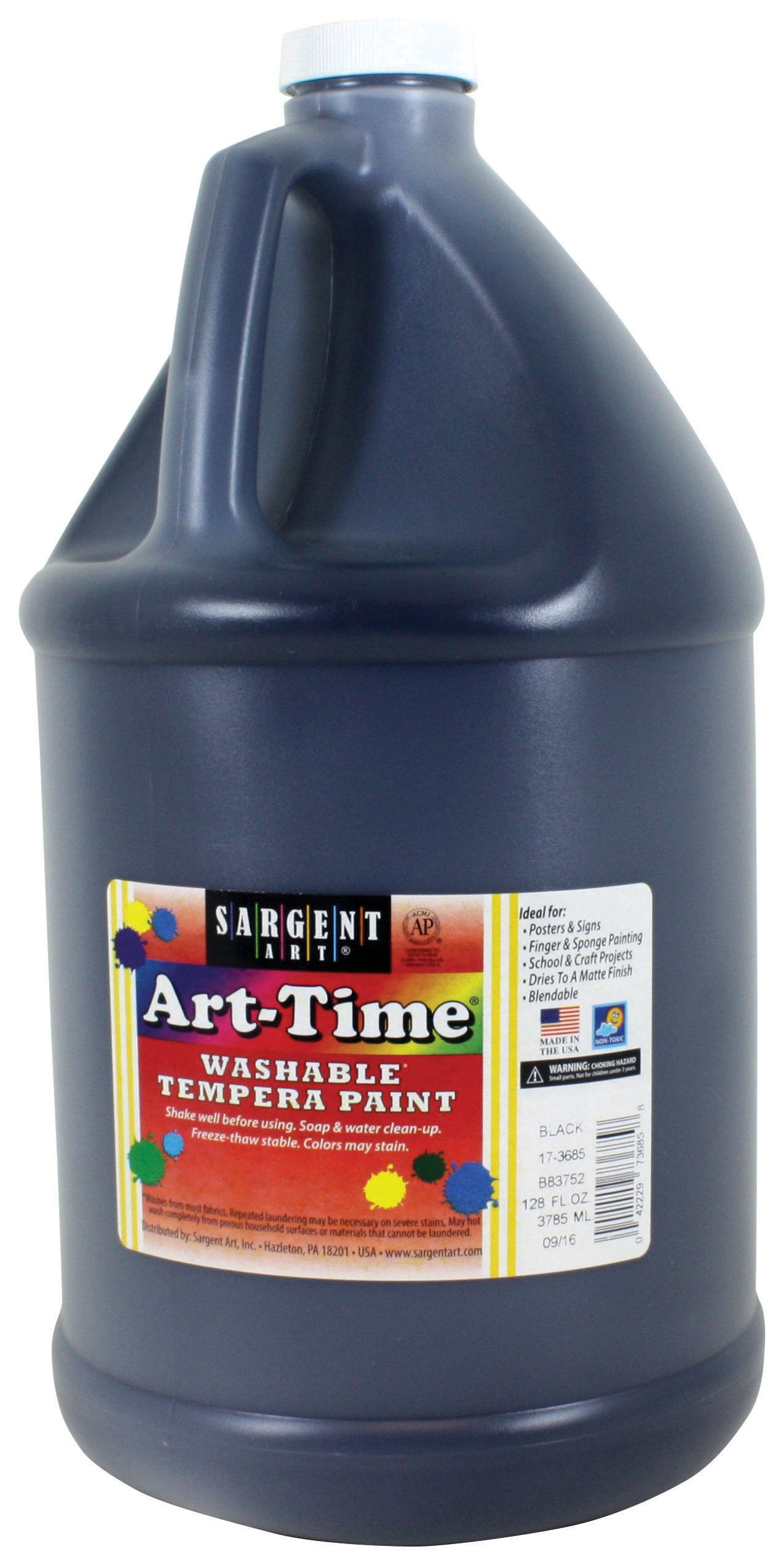Sargent Art 17-3685 128 oz Black Art-Time Washable Tempera Paint,1 gallon