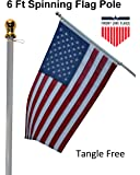 Flag Pole: 6' Ft White Aluminum Flagpole | Spinning & Tangle Free | Heavy Duty | Wind Resistant and Rust Free | Best Quality Wall Mount Flag Pole | Front Line Flags P/N FL6W