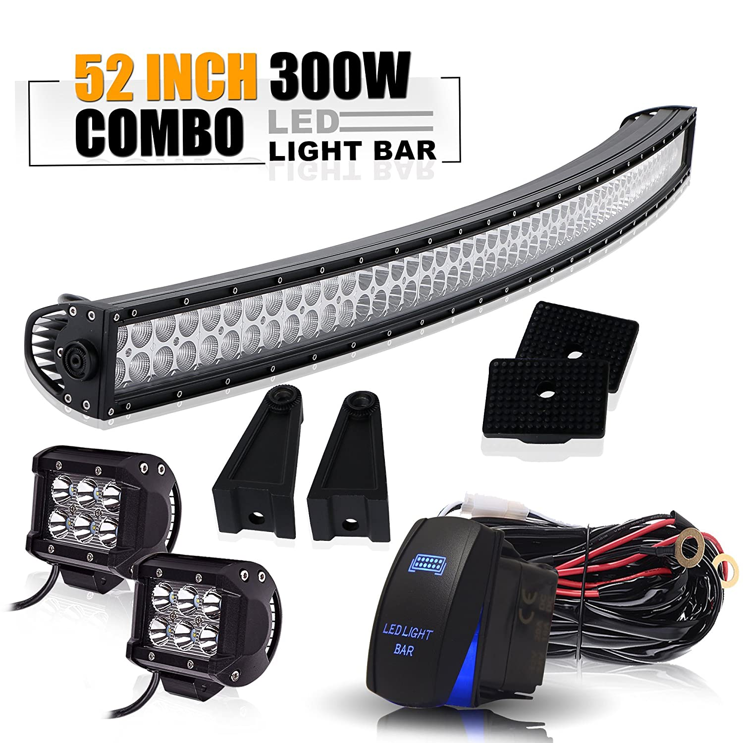 52' 300W Spot Flood Combo Offroad Curved Led Light Bar W/ 4In Pods Cube Led Fog Driving Lamp On Roof Top Front Bumper Grill Windshield For Jeep Wrangler Ford Truck Polaris RZR Boat Tacoma Dodge Ram TURBOSII TUR-CXD-300WCV18W-BTWIR