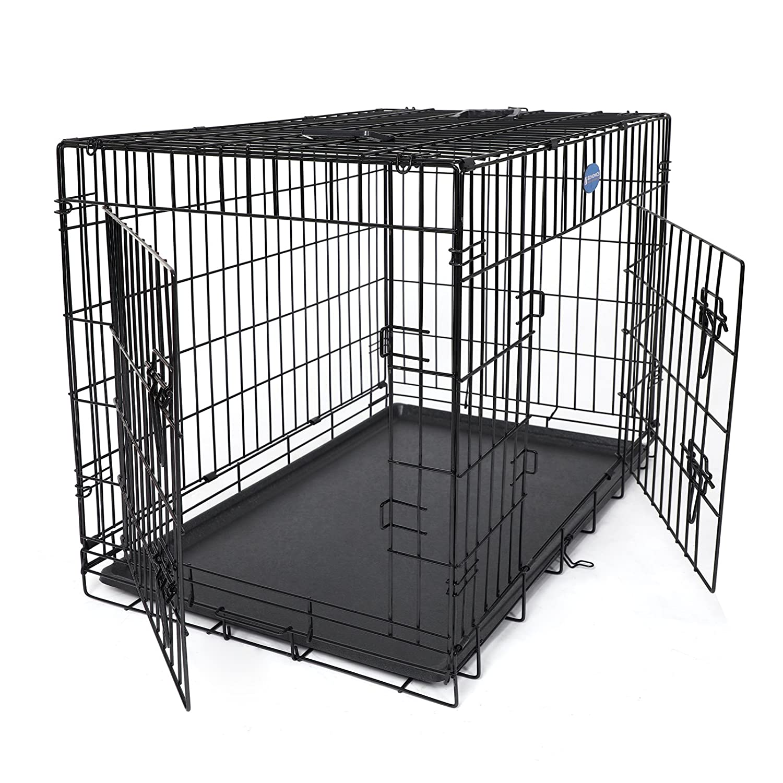 SONGMICS Hundekäfig 2 Türen Hundebox Transportkäfig aus extra starkem Draht stabil und zusammenfaltbar XL-XXXL