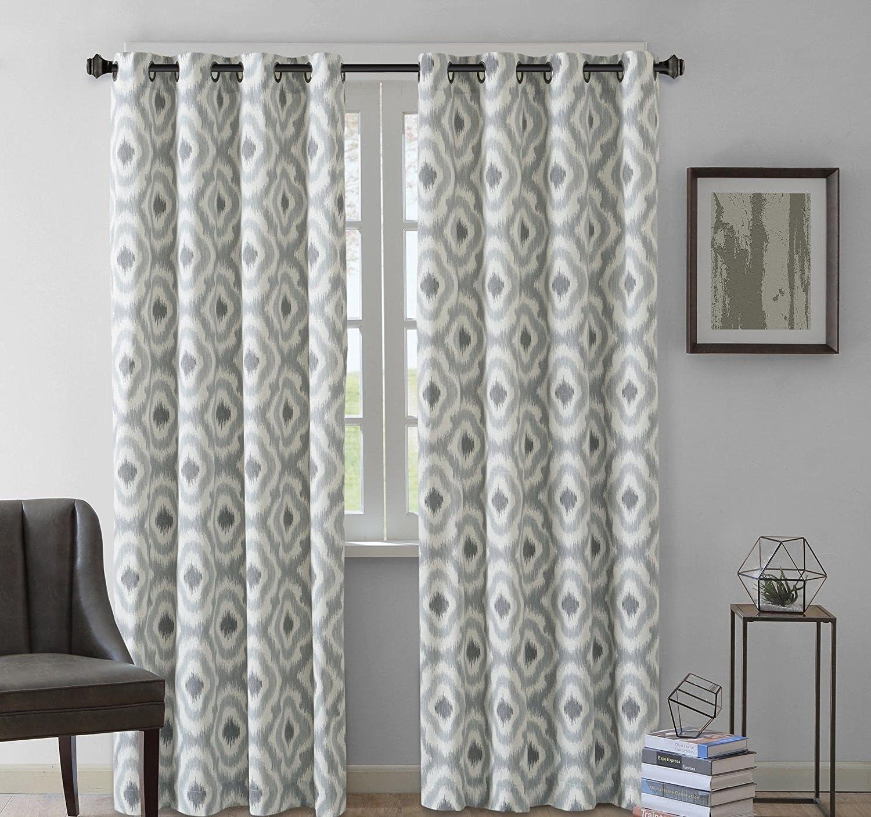 1Pieza gris geométrico estampado Ikat cortina de ventana 63 solo Panel, moderno y contemporáneo Casual, gris con forro algodón pistola Metal ojal, patrón geométrico: Amazon.es: Hogar