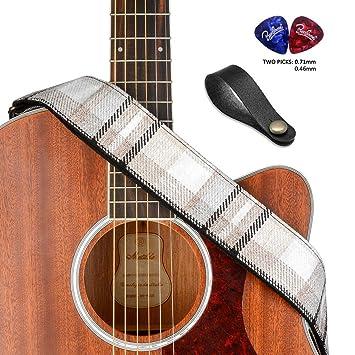 bestsounds correa para guitarra vintage estilo suave algodón extremos de piel auténtica correa para bajos, guitarras eléctricas y acústicas: Amazon.es: ...