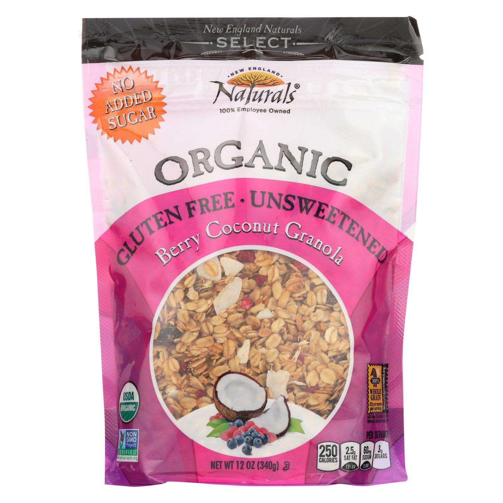 New England Naturals Organic Granola Select Berry - Coconut - Non GMO - Case of 6 - 12 Ounce