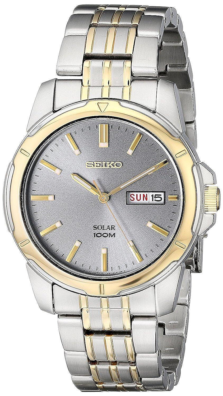 Seiko Men s Two-Tone Charcoal Dial Solar Calendar Watch
