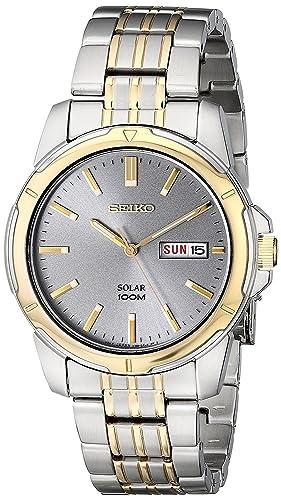 Seiko Reloj Analógico para Hombre de Energía Solar con Correa en Acero Inoxidable SNE098P9: Amazon.es: Relojes