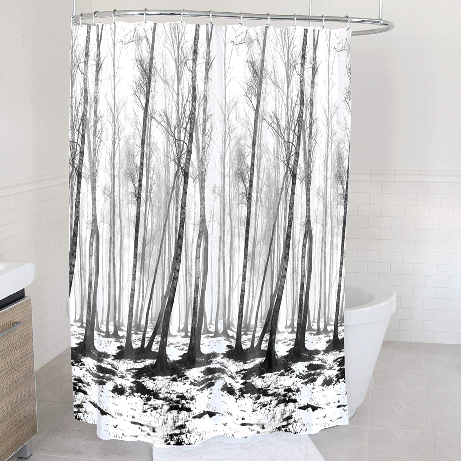 Splash Home Tree Polyester Fabric Shower Curtain 70 x 72 Inches Chocolate 70 x 72 Inches