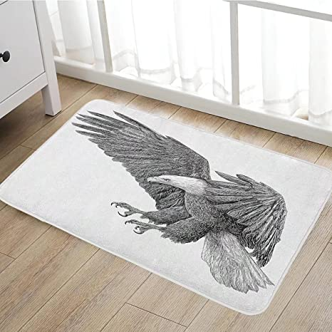 door pencil drawing secret garden coloring book eagle bath mat for tub black and white pencil drawing style with detailed features wild amazoncom