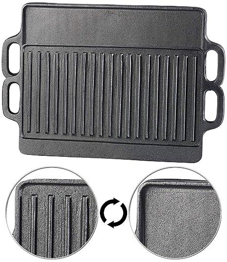 Placa de Parrilla de hierro fundido reversible para horno ...