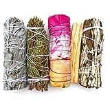 MAMA WUNDERBAR Smudge Kit - White Sage, Cedar, Flower Sage, Yerba Santa, Palo Santo. Home Cleansing, Blessing…