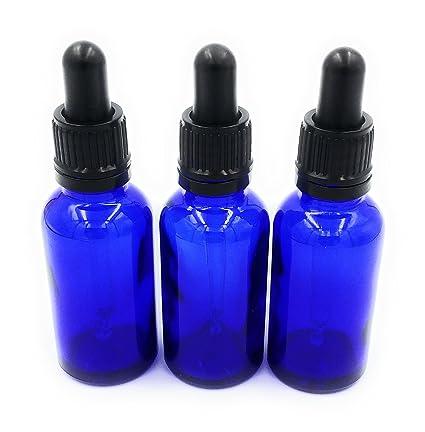 Tres frascos de vidrio azul con cuentagotas, 30 ml