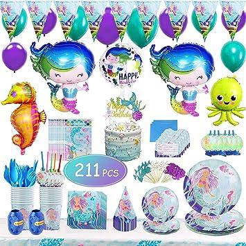 Juego de artículos de mesa para fiesta de cumpleaños de sirena, 211 piezas, decoración de fiesta de cumpleaños con diseño de sirena: Amazon.es: Juguetes y juegos