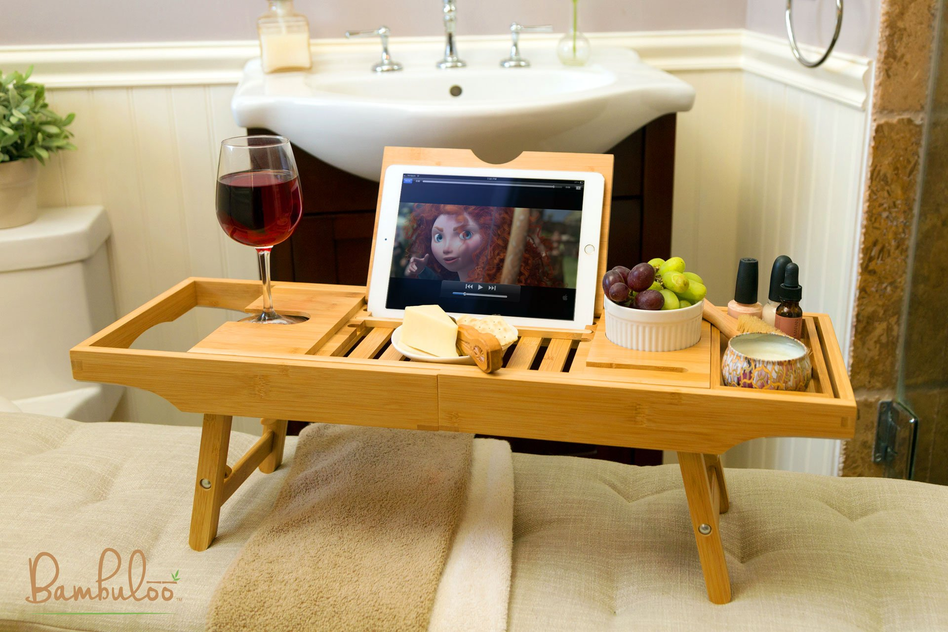 Bathtub Caddy and Bed Tray Combo - Premium Bamboo Wood with 2 Lavender Bath Bombs - Folding Legs/Fully Adjustable - Mold Resistant - Phone Tablet and Wine Holders for The Finest Home Spa Experience by Bambuloo (Image #4)