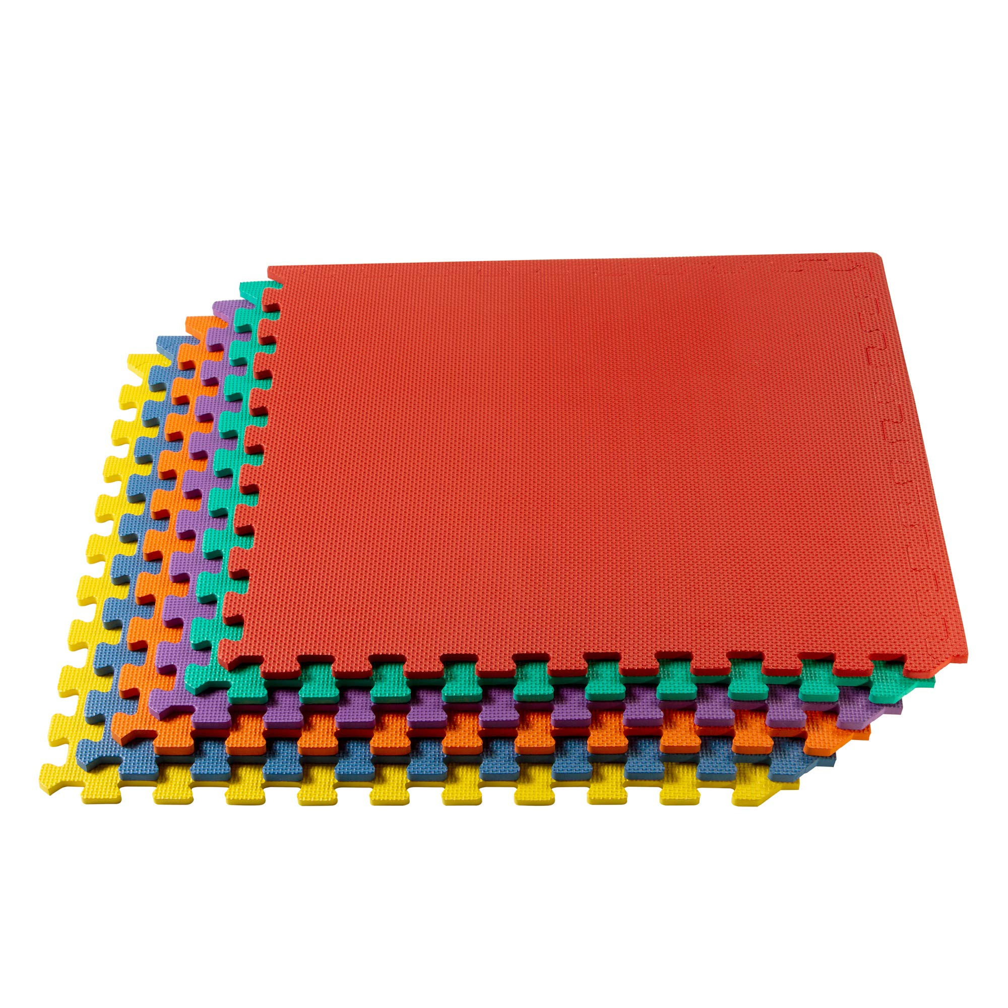 We Sell Mats Multipurpose Exercise Floor Mat with EVA Foam, Interlocking Tiles, Anti-Fatigue, for Home or Gym, 120 Square Feet (30 Tiles), 24 x 24 x 3/8 Inches, Multi-Color by We Sell Mats