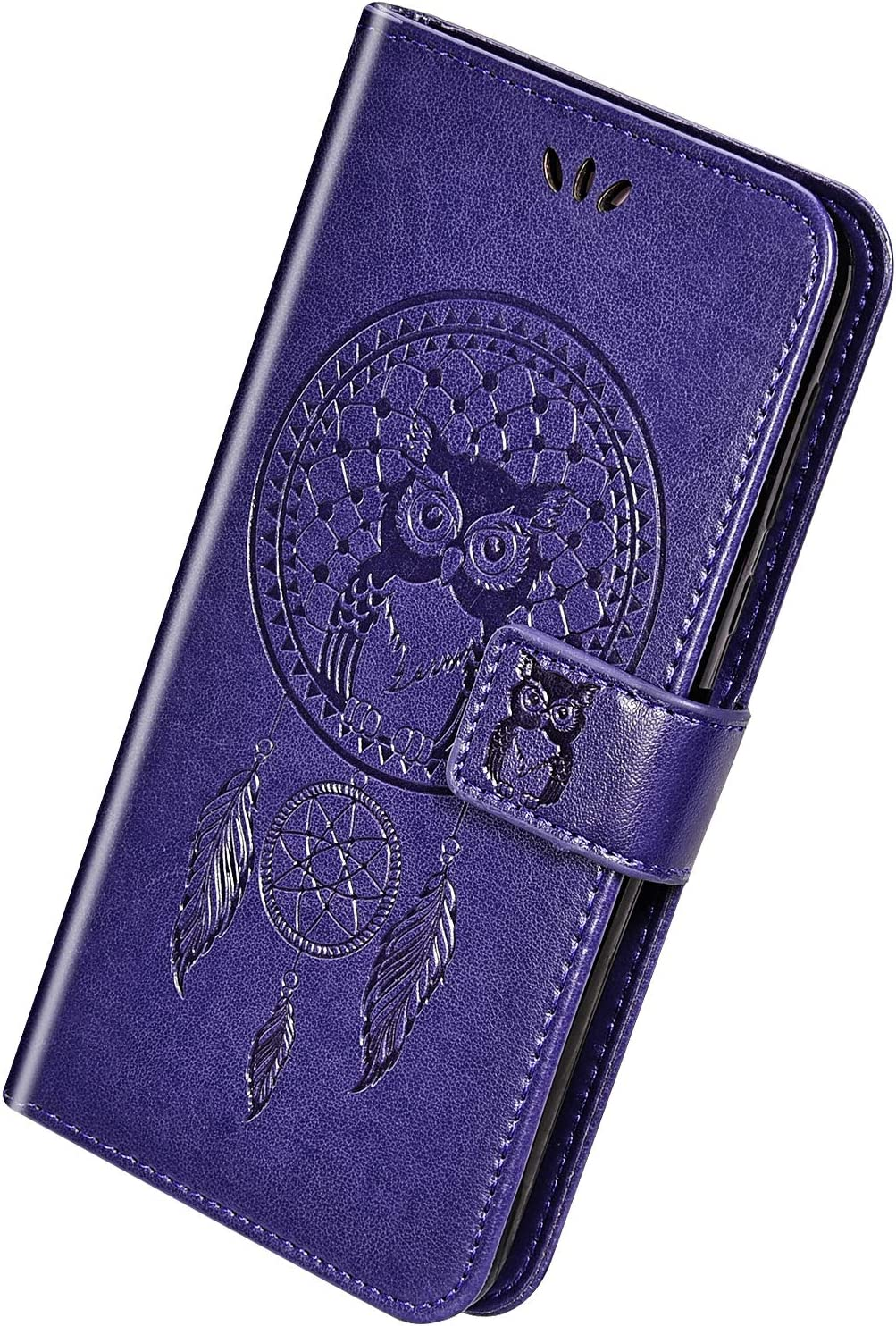 Herbests Compatible avec Huawei P20 Lite 2019 Coque Owl Case Wind Chime Motif Embosser Flip Cuir Etui Protecteur avec Support et Carte Machines /à sous et Porte-Monnaie Pochette Housse,Gris