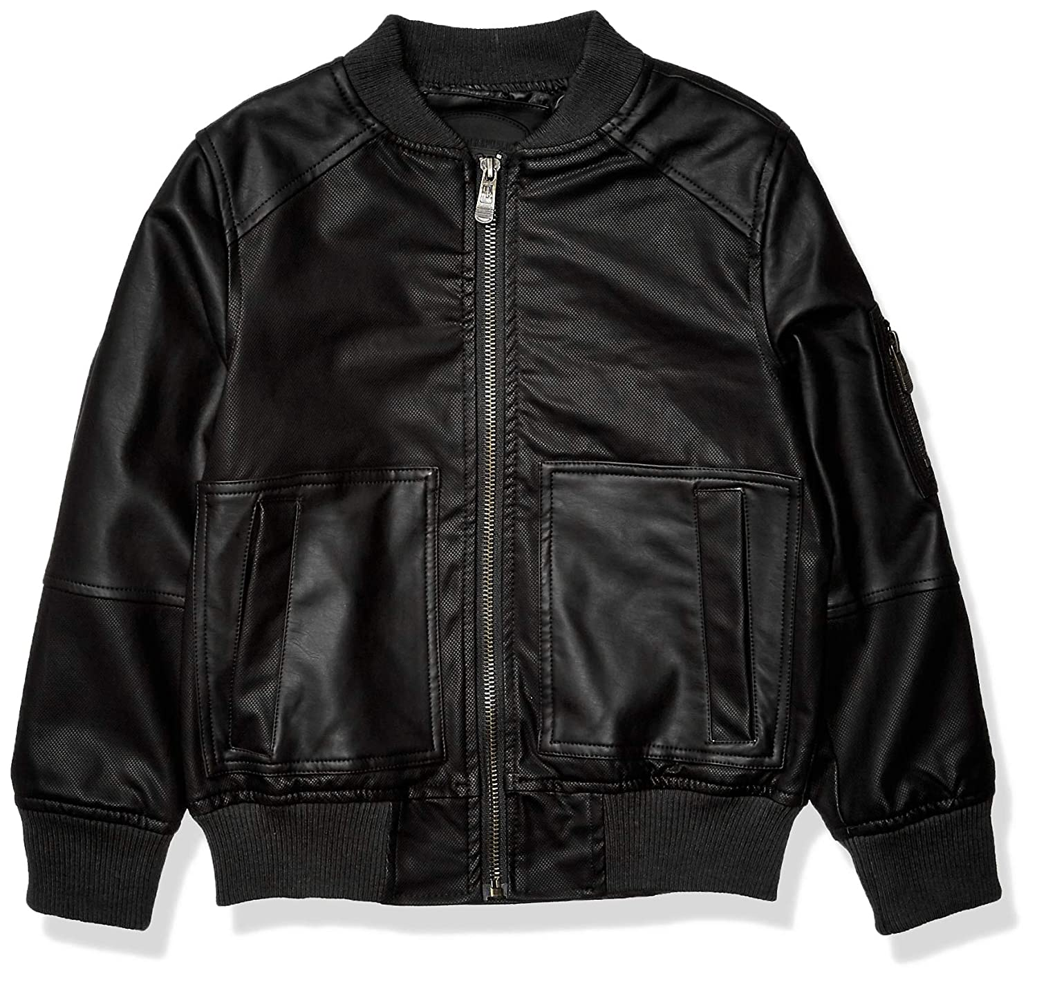 Amazon.com: Urban Republic Boys Textured Faux Leather Jacket ...