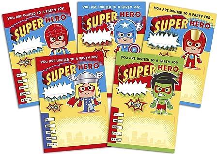 Childrens Superhero Birthday Party Invitations X 20