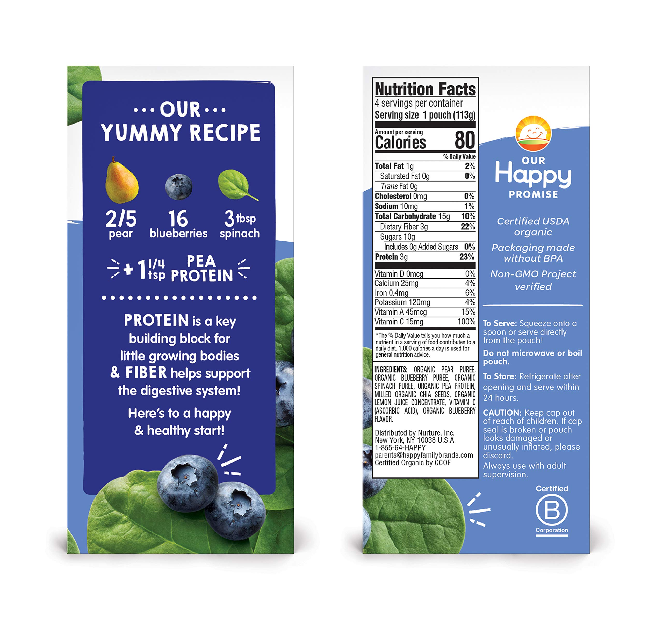 Happy Tot Organic Stage 4 Fiber & Protein, Pears, Blueberries & Spinach, 4 Ounce (Pack of 16) by Happy Baby (Image #5)